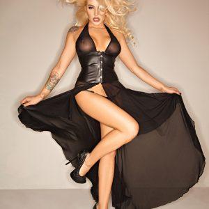 черна фетиш лак рокля
