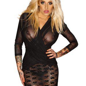 секси черна дантелена рокля